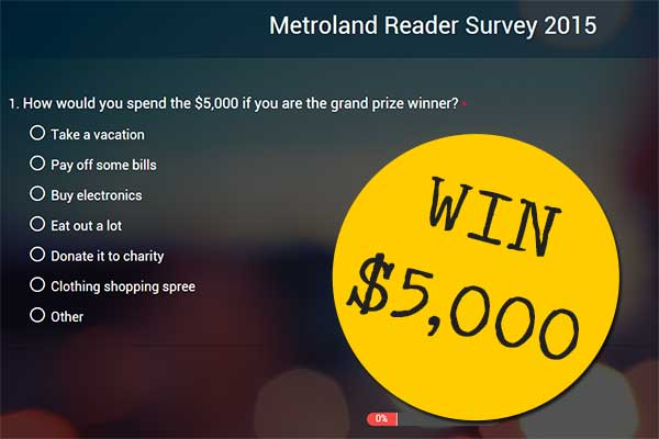 Metroland Reader Survey 2015 Win $5,000